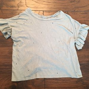 American Eagle Teal tee with holes